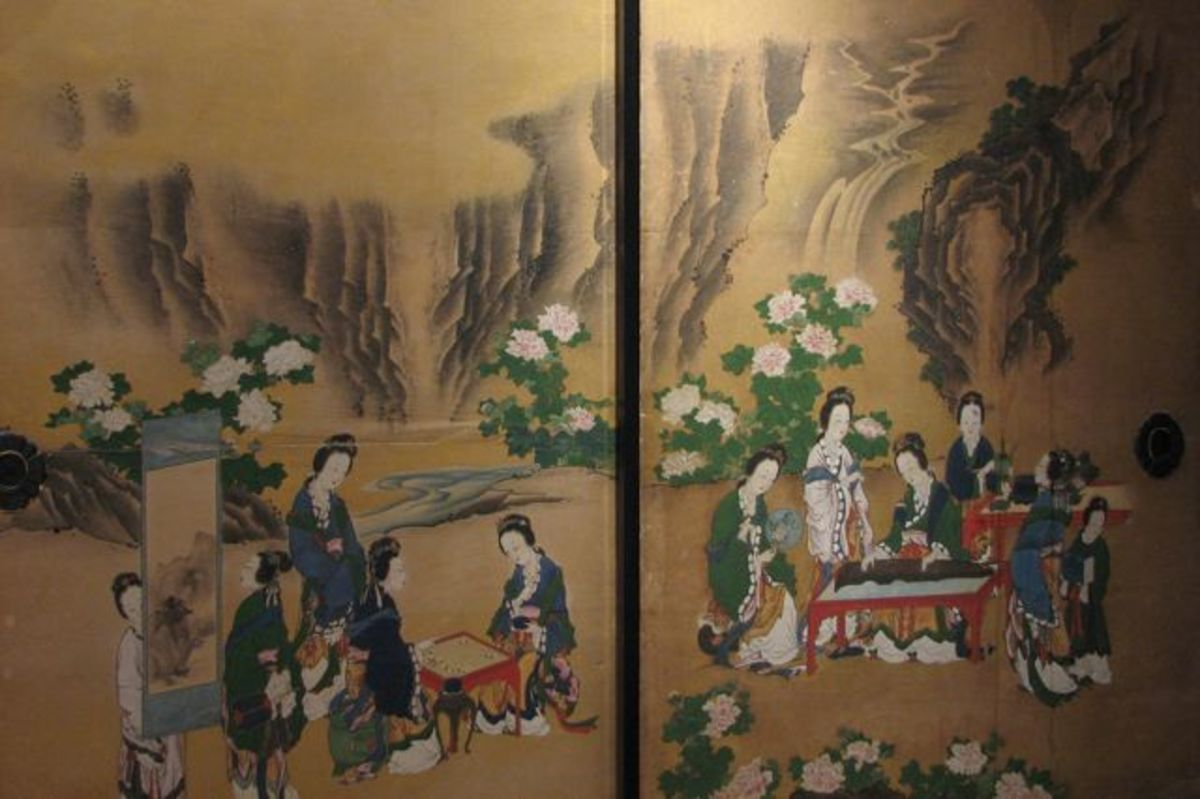 A painted screen in Tamozawa Imperial Villa.
