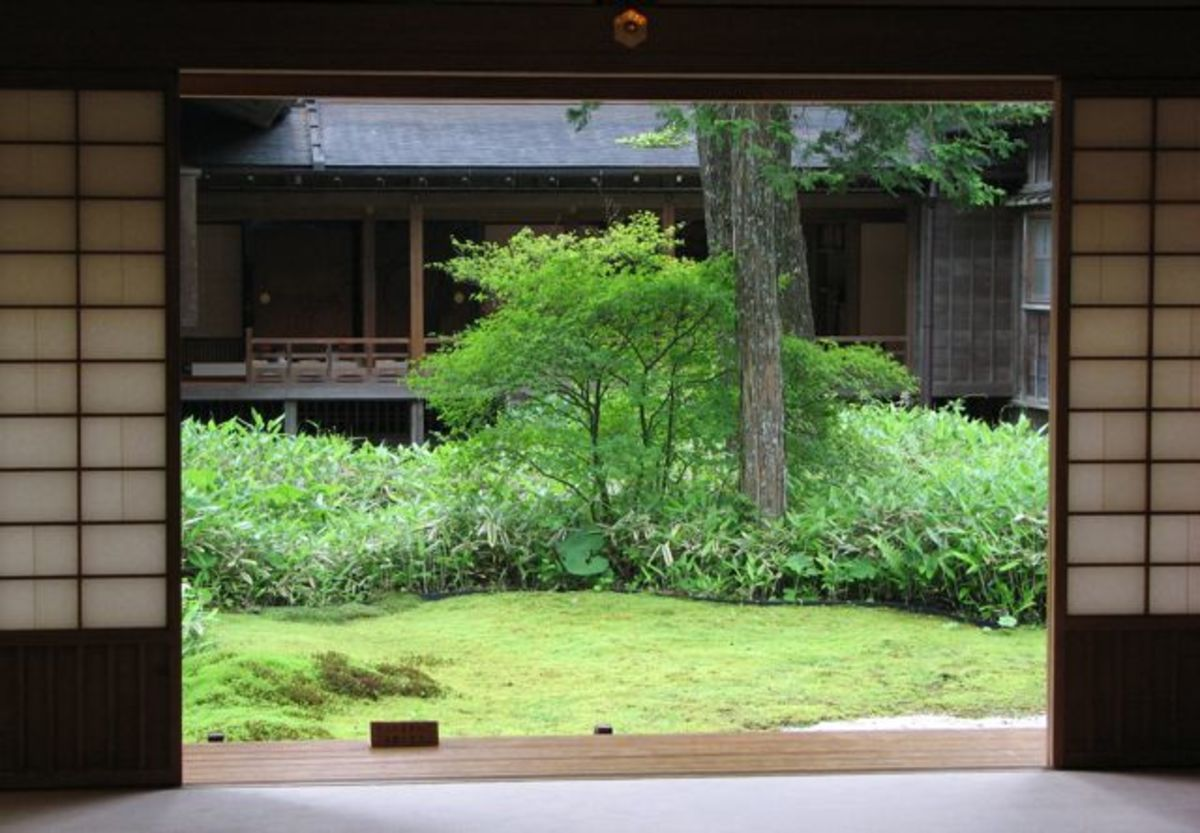 Tamozawa Imperial Villa Memorial Park - a courtyard garden in summer.
