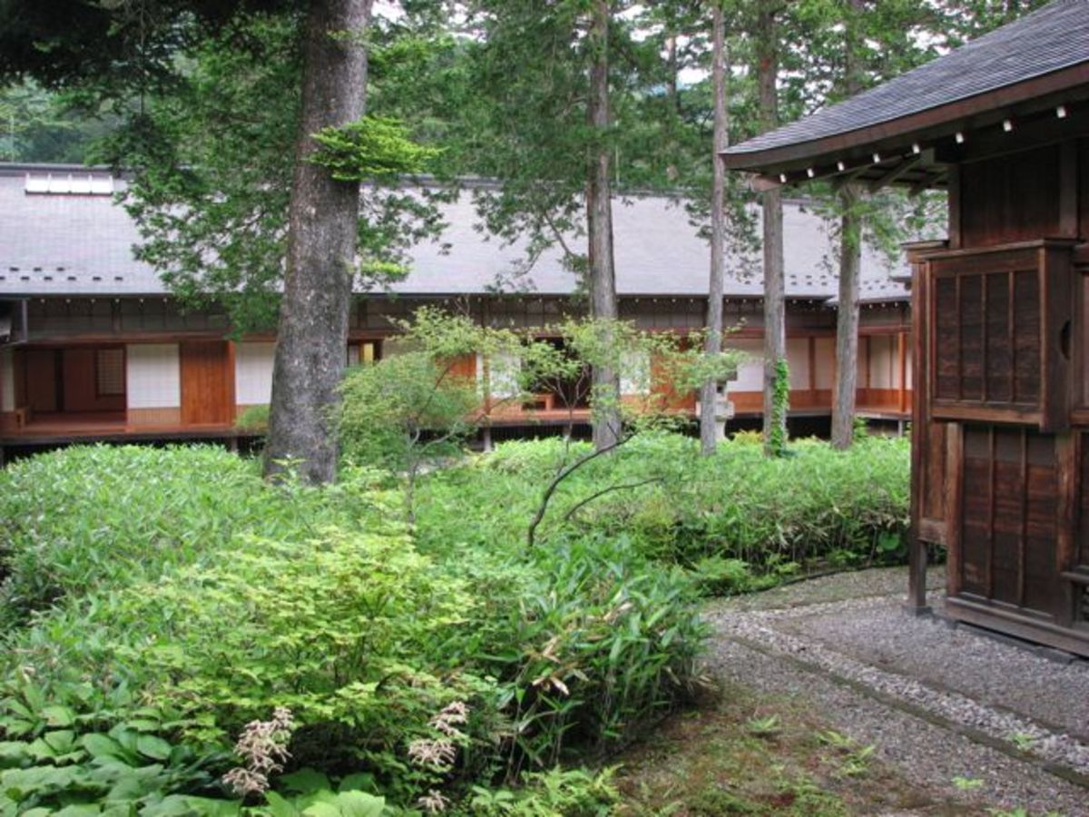 Tamozawa's large courtyard garden in summer.
