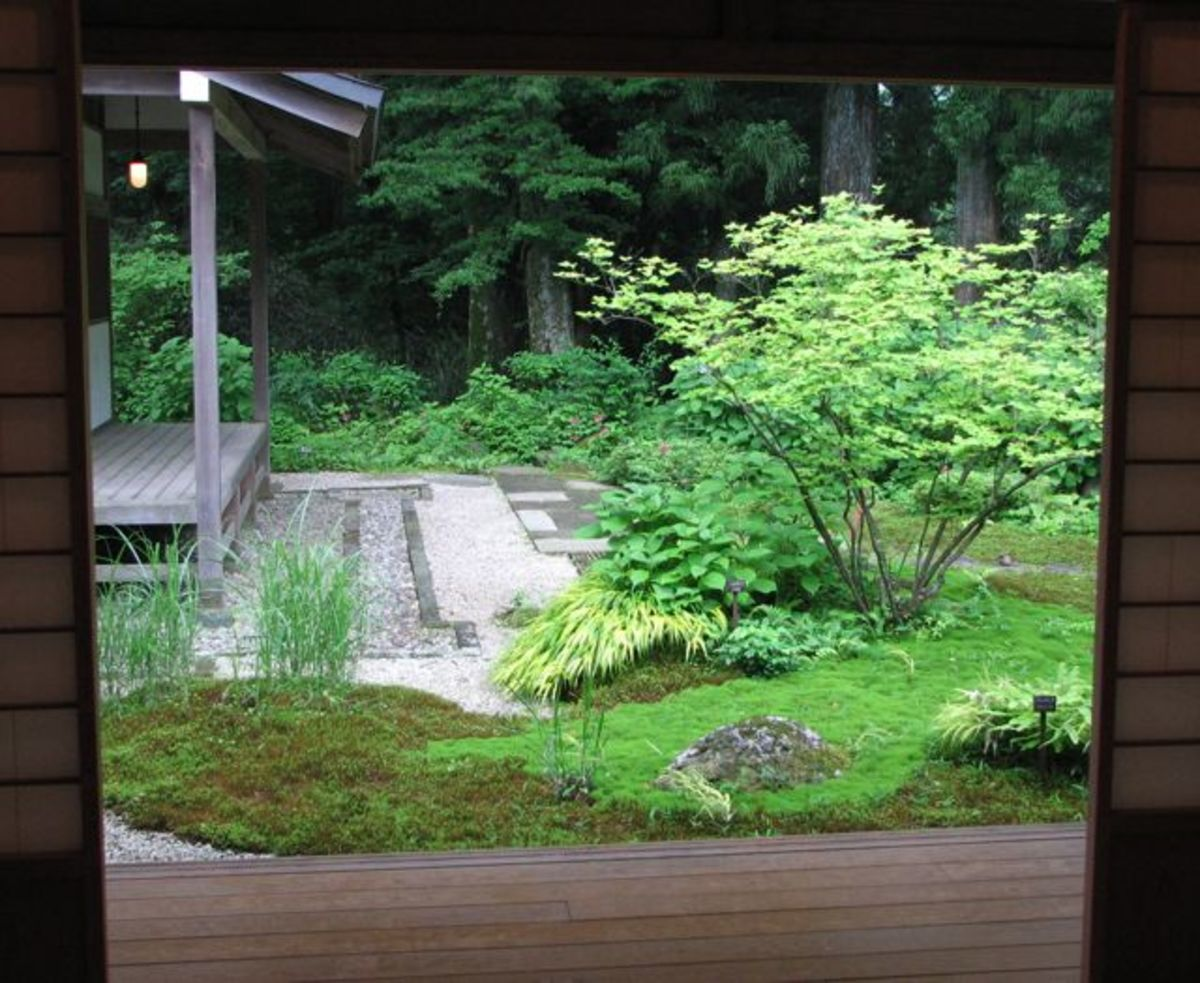 Courtyard garden in Tamozawa villa.