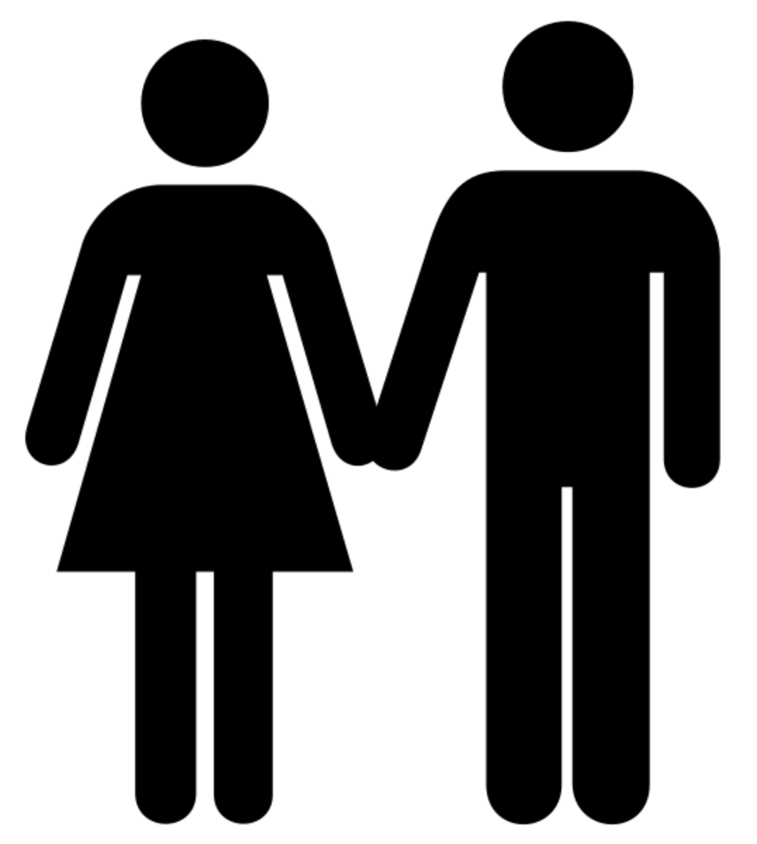 Universal symbol of a man and a woman holding hands