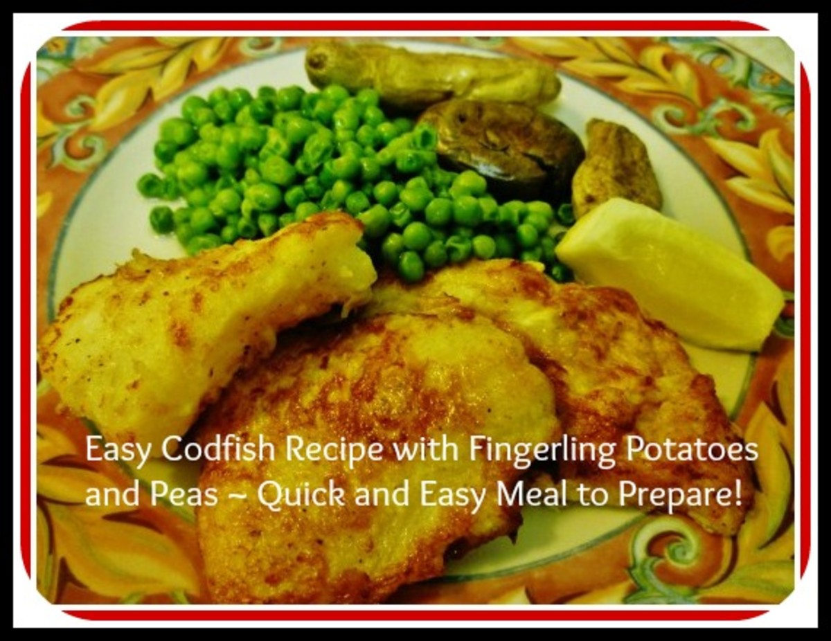 Quick and Easy Dinner with Cod Fish Entrée, Fingerling Potatoes, and Peas