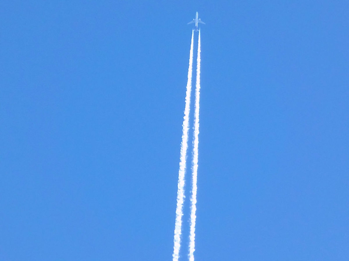 """- Unedited Chemtrail / Contrail Photo - """"Unknown Substance Disbursement"""" - The plume fanned out slowly to create a canopy of mystery - Chemtrail? Contrail? Yet to be disclosed, covertly deployed """"Defensive Mechanism?"""" We may never uncover the truth -"""