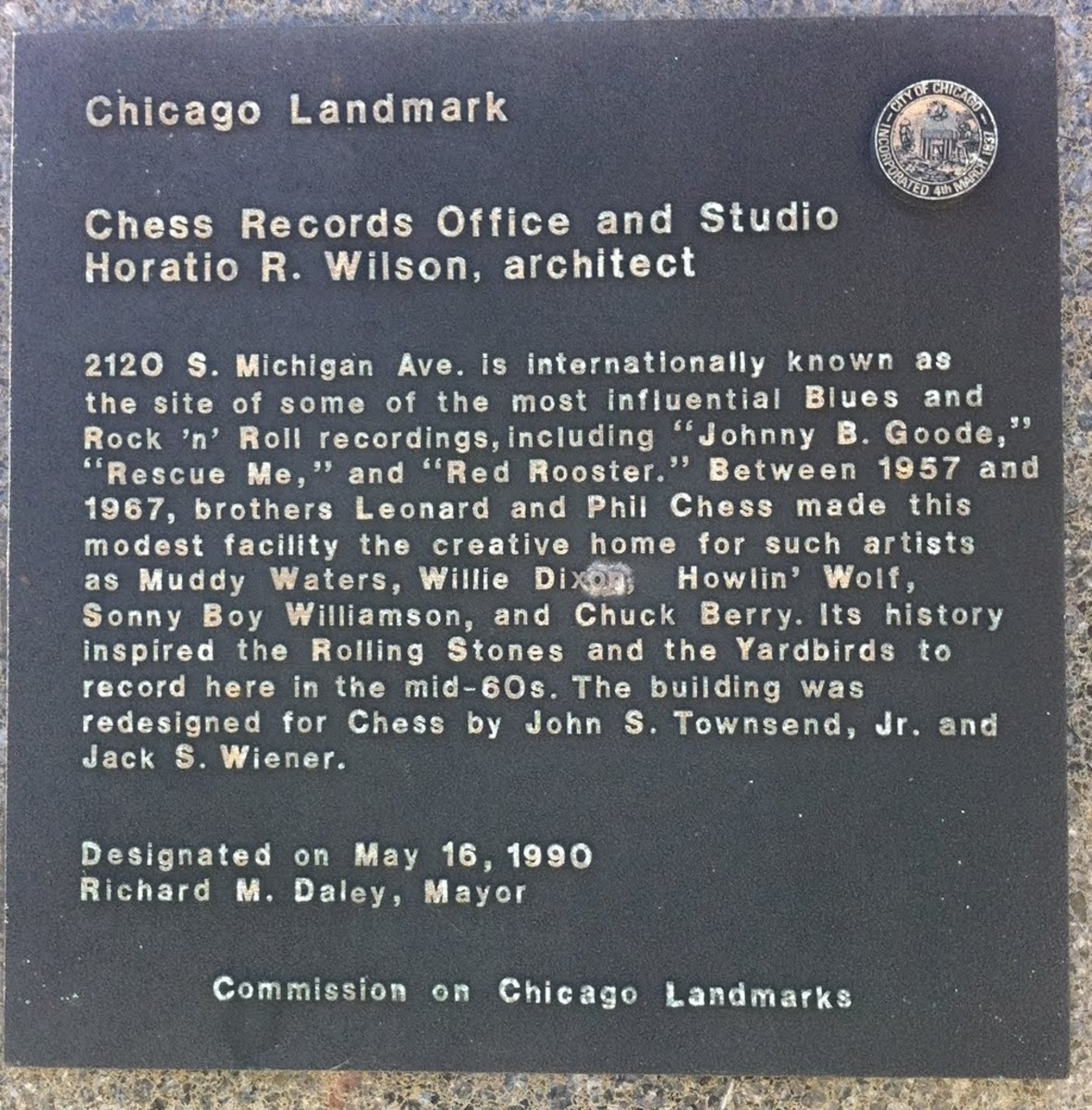 Landmark plaque in front of 2120 S. Michigan Avenue.