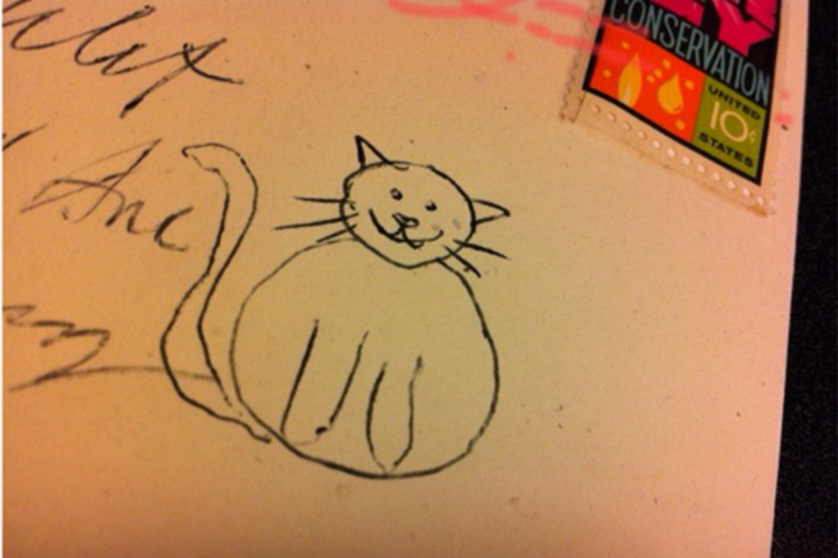 Yes, that is the crudely drawn cat I always looked for on letters from my grandfather