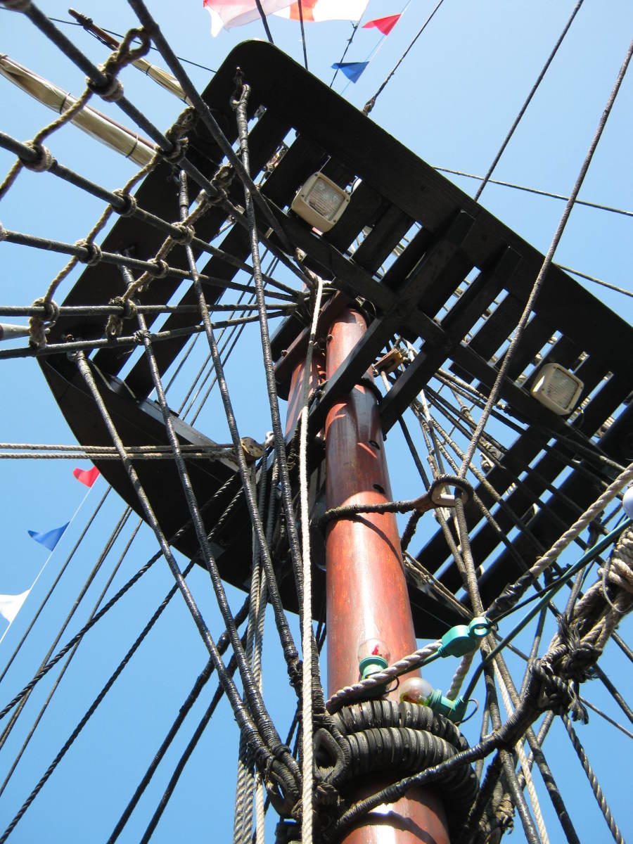 Mast and rigging of the pirate ship at Whitby, North Yorkshire, England