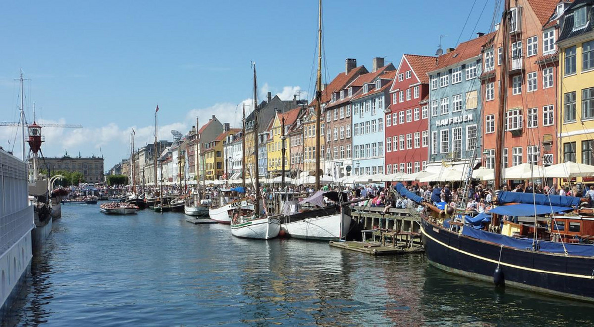 Nyhavn, Copenhagen, Denmark.  The street on which Anderson lived for a time; the house is now a museum.
