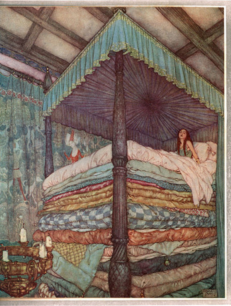 """Illustration from the fairy tale, """"The Princess and the Pea,"""" by Andersen."""
