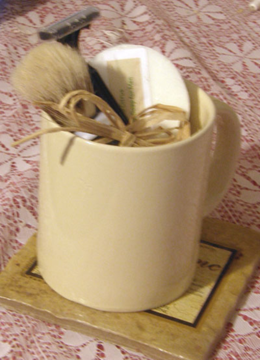 I placed round shaving soaps (Pringle's can mold) into mugs with a shaving brush and razor for a great gift!