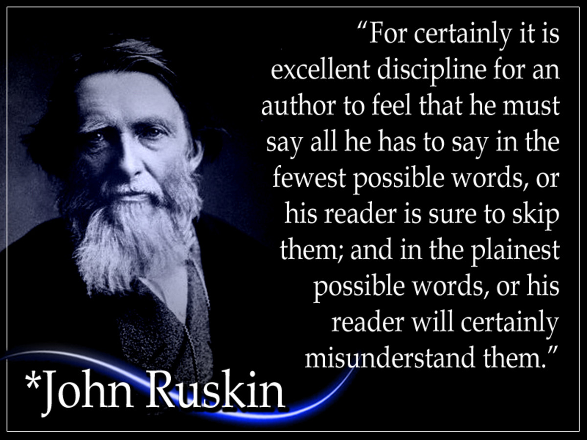 John Ruskin was the foremost English art critic of the Victorian era. His fancy ornate writing style that categorized his earliest writing was later supplanted by a desire for plainer language to convey his ideas more efficiently and effectively.