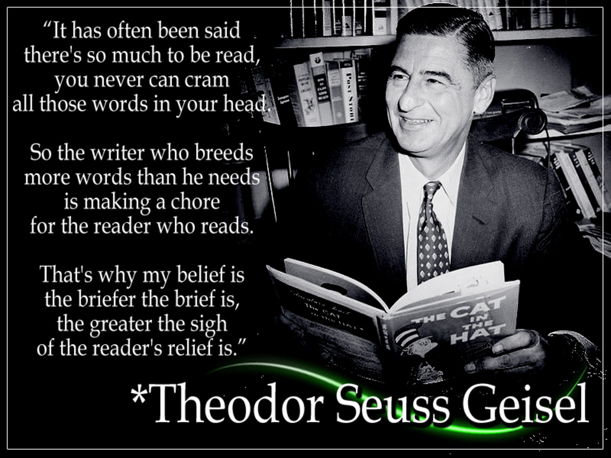 "Theodor Seuss Geisel was an American author, rhymer, and caricaturist known for his children's books penned under Dr. Seuss. He published 46 children's books, incl. the best-selling kid's books, ""Green Eggs and Ham"" and ""The Cat in the Hat."""