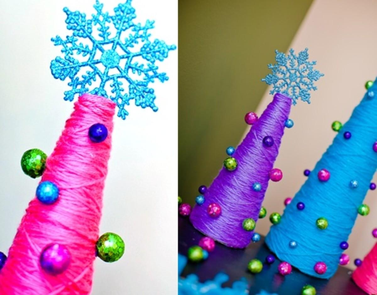 Colourful Yarn Christmas Trees