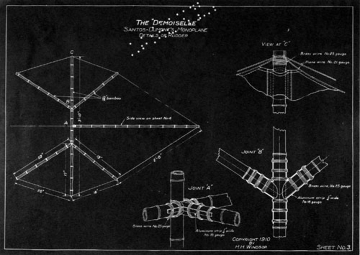 Blueprints of Santos-Dumont's Demoiselle.