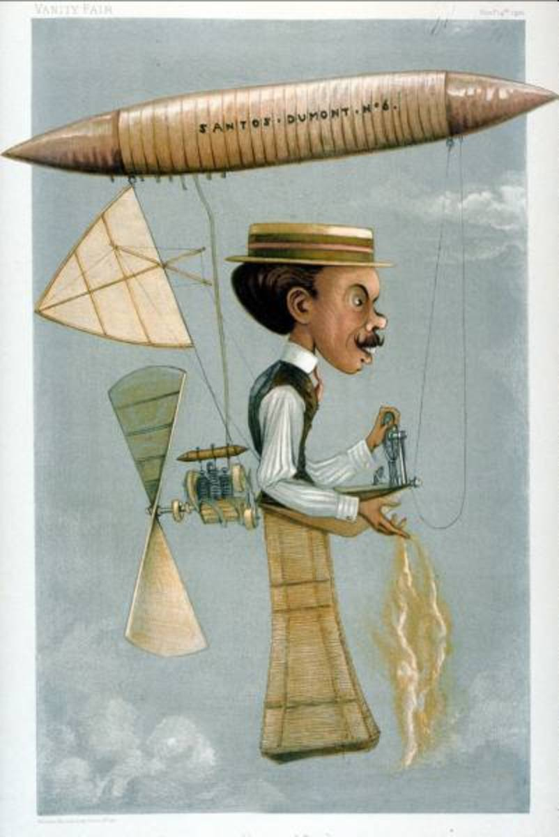 1899 Vanity Fair caricature of Santos-Dumont flying a powered balloon over Paris.