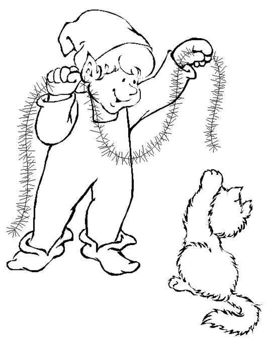 Online christmas elf printable coloring pages hubpages for Christmas kitten coloring pages