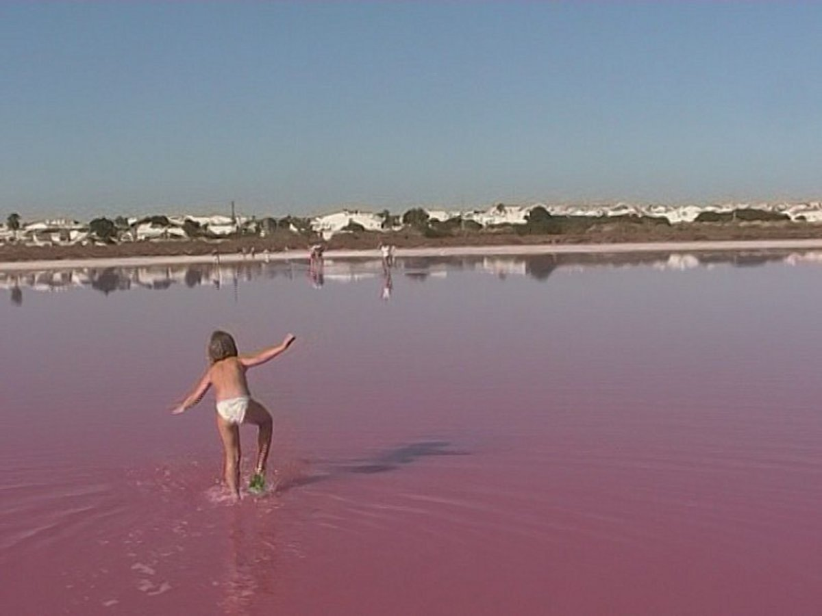 A child plays in the pink waters of a salt lake, located in Spain.