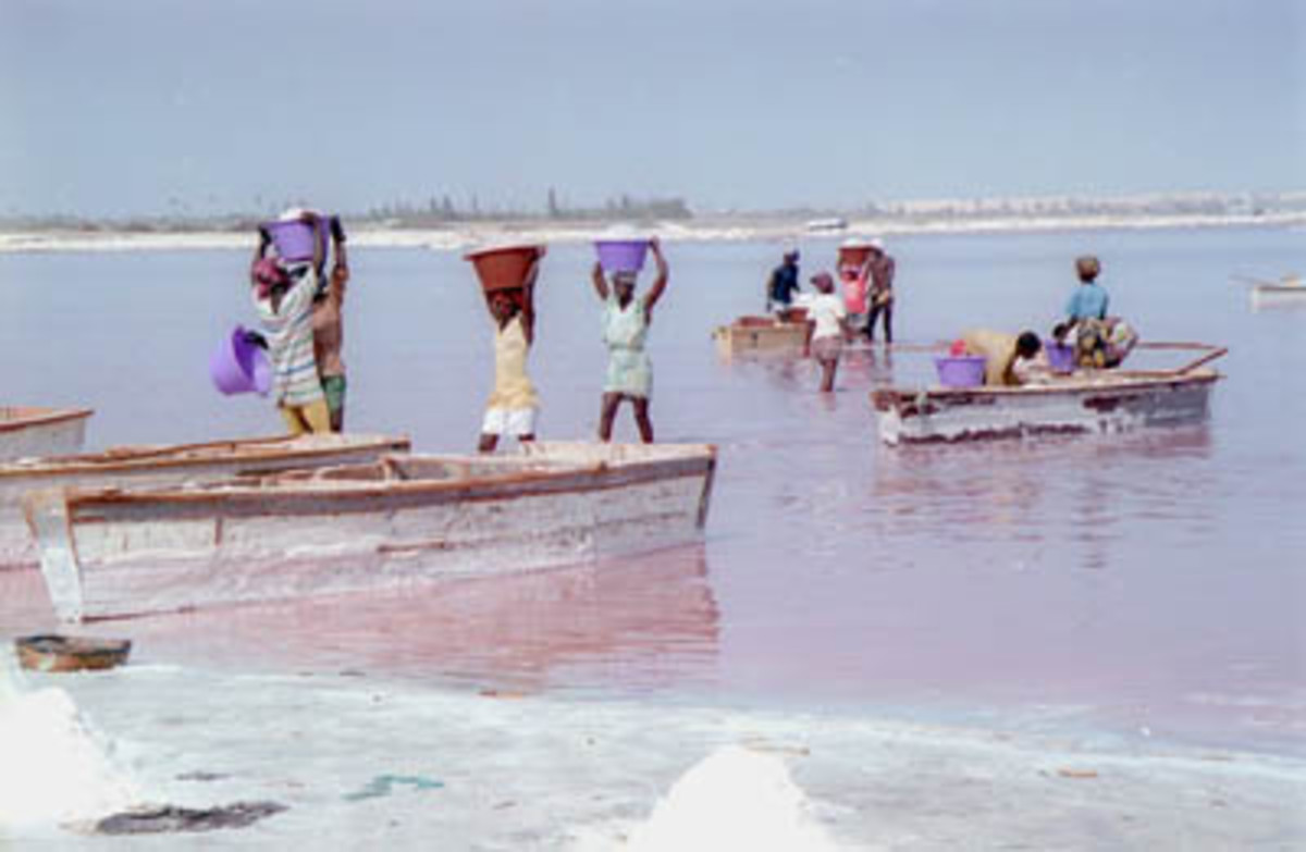 Lac Rose in Senegal is pink, and is mined for its salt.