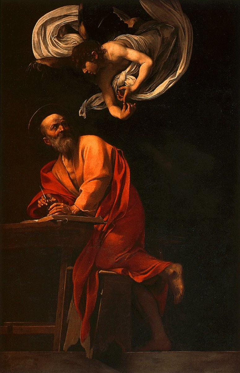 ST MATTHEW WITH ANGEL AS PAINTED BY CARAVAGGIO IN 1602