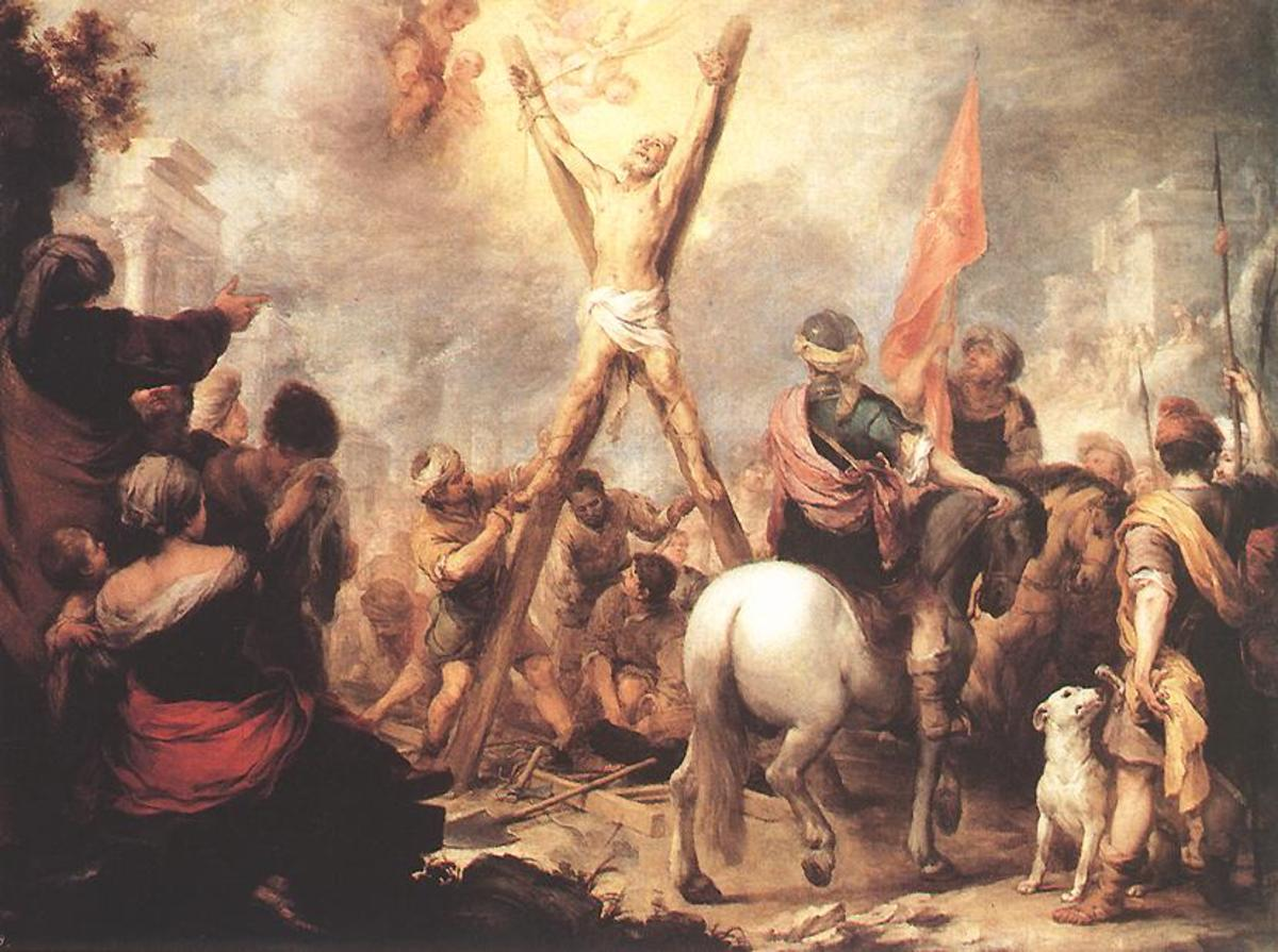MARTYRDOM OF ST ANDREW AS PAINTED BY BARTOLOME ESTEBAN MURILLO IN 1682
