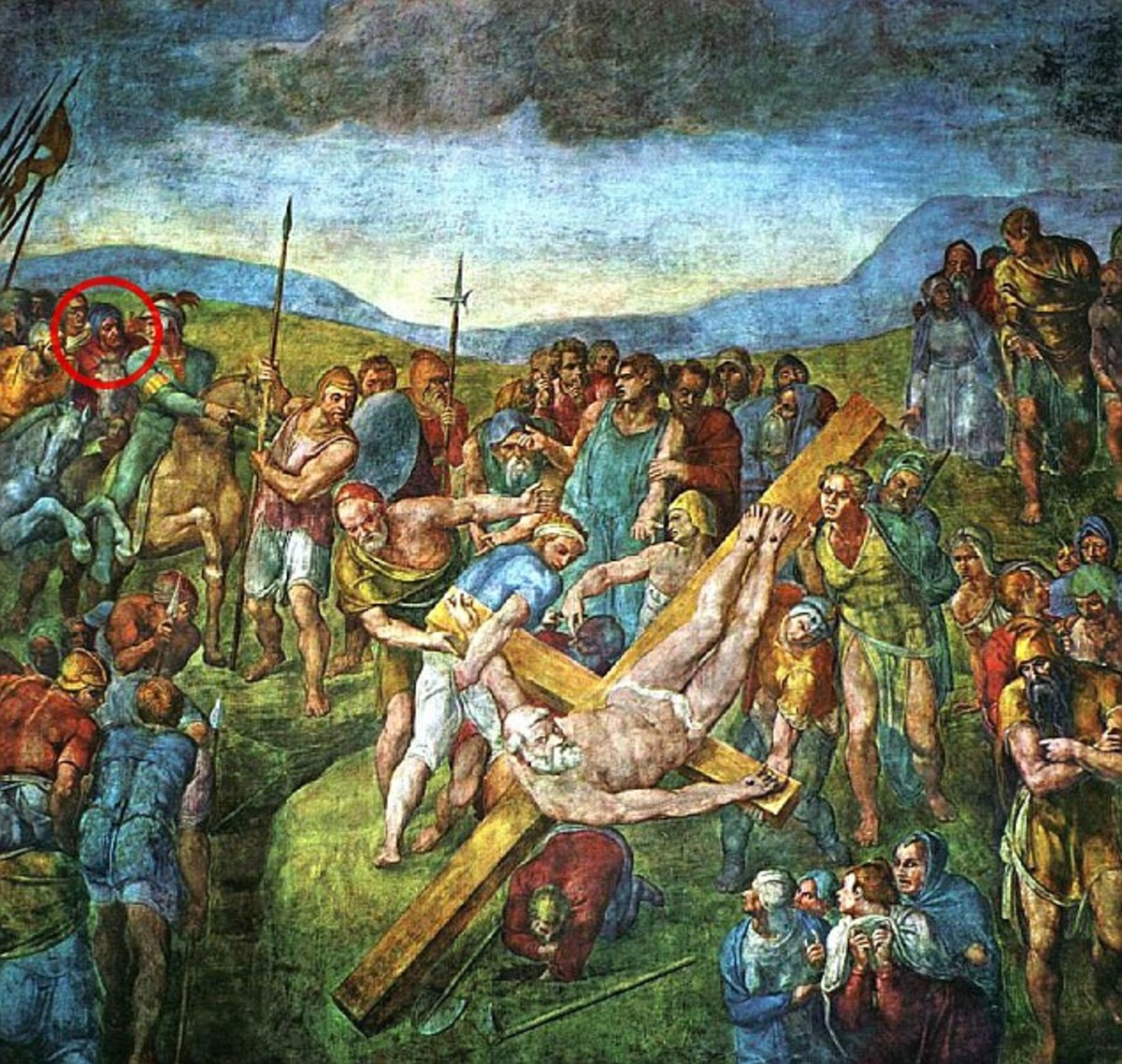CRUCIFIXION OF ST PETER AS PAINTED BY MICHELANGELO IN 1550