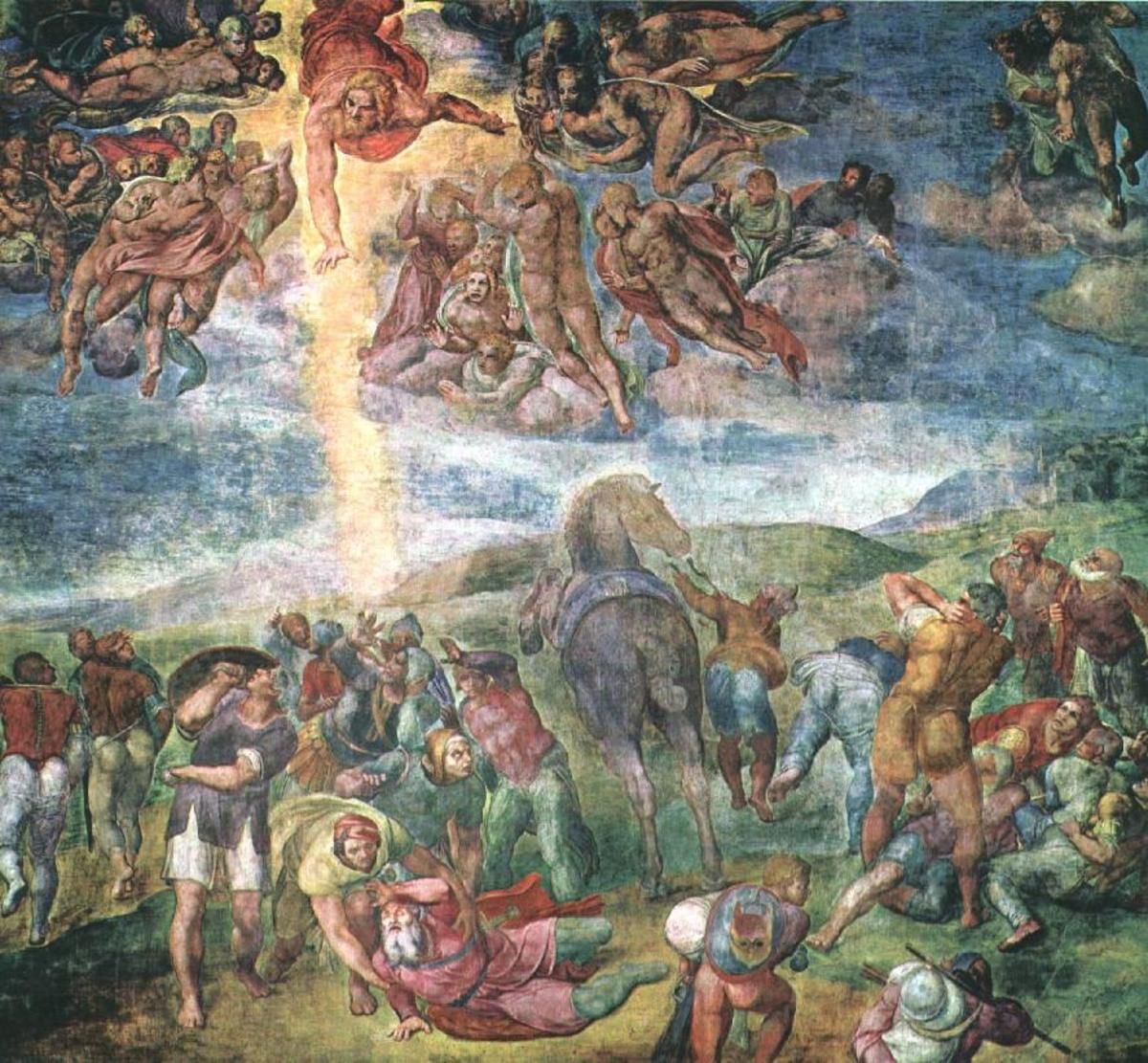 CONVERSION OF ST PAUL ON THE ROAD TO DAMASCUS AS PAINTED BY MICHELANGELO IN 1542