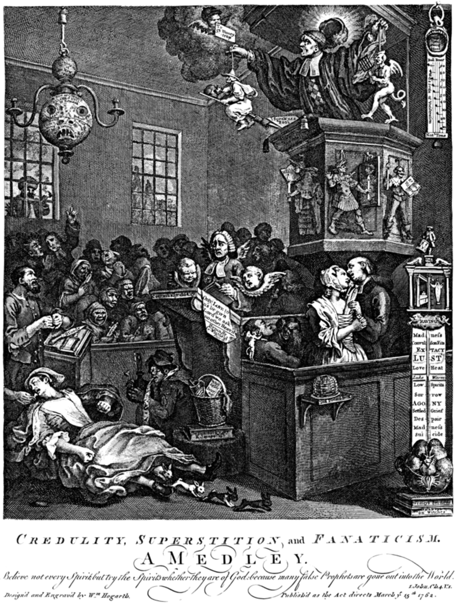 """William Hogarth depicted Mary Toft in his print """"Credulity, Superstition, and Fanaticism,"""" ridiculing the willingness of religious and secular authorities to believe nonsense."""