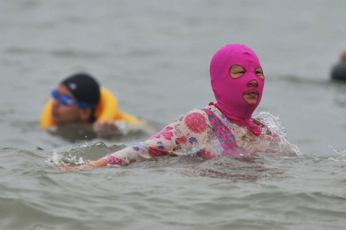 Once you've got a Facekini, no worries about getting a tan!