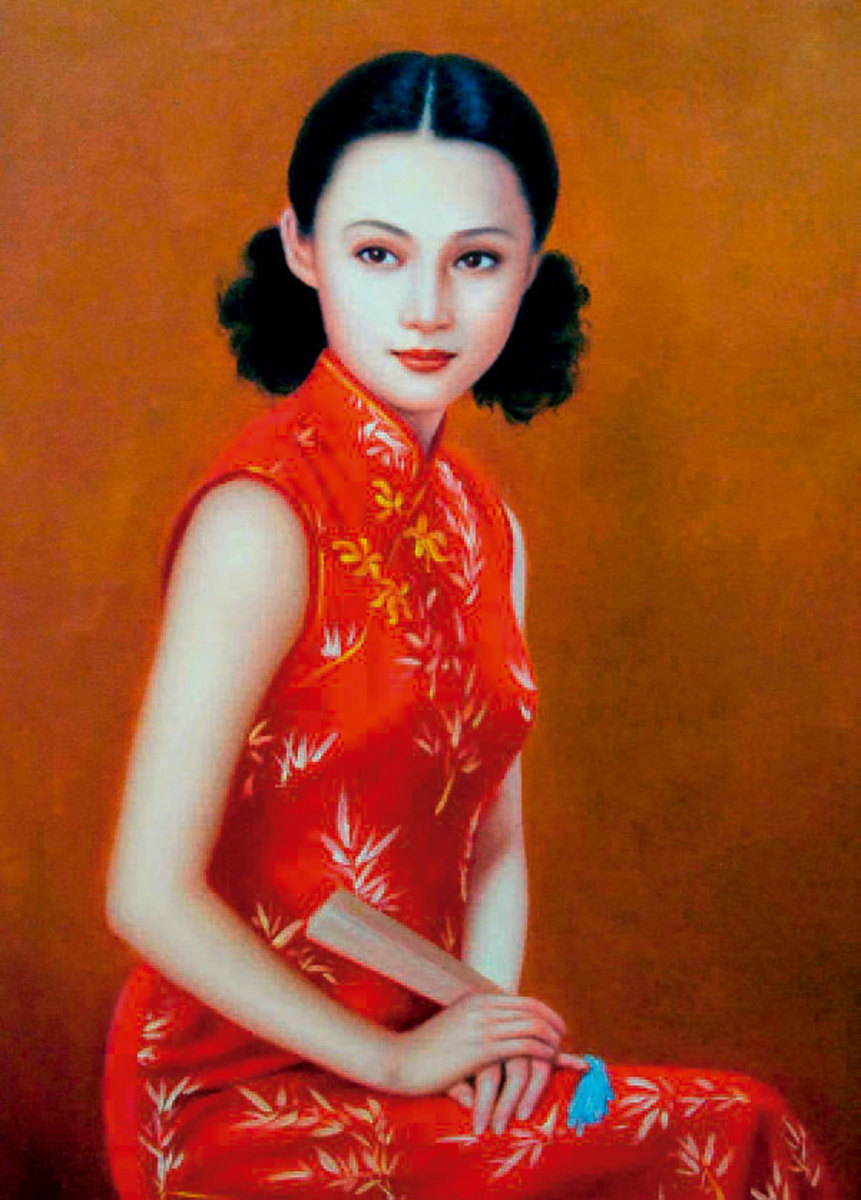 Very white Skin and traditional 'Qipao' dress