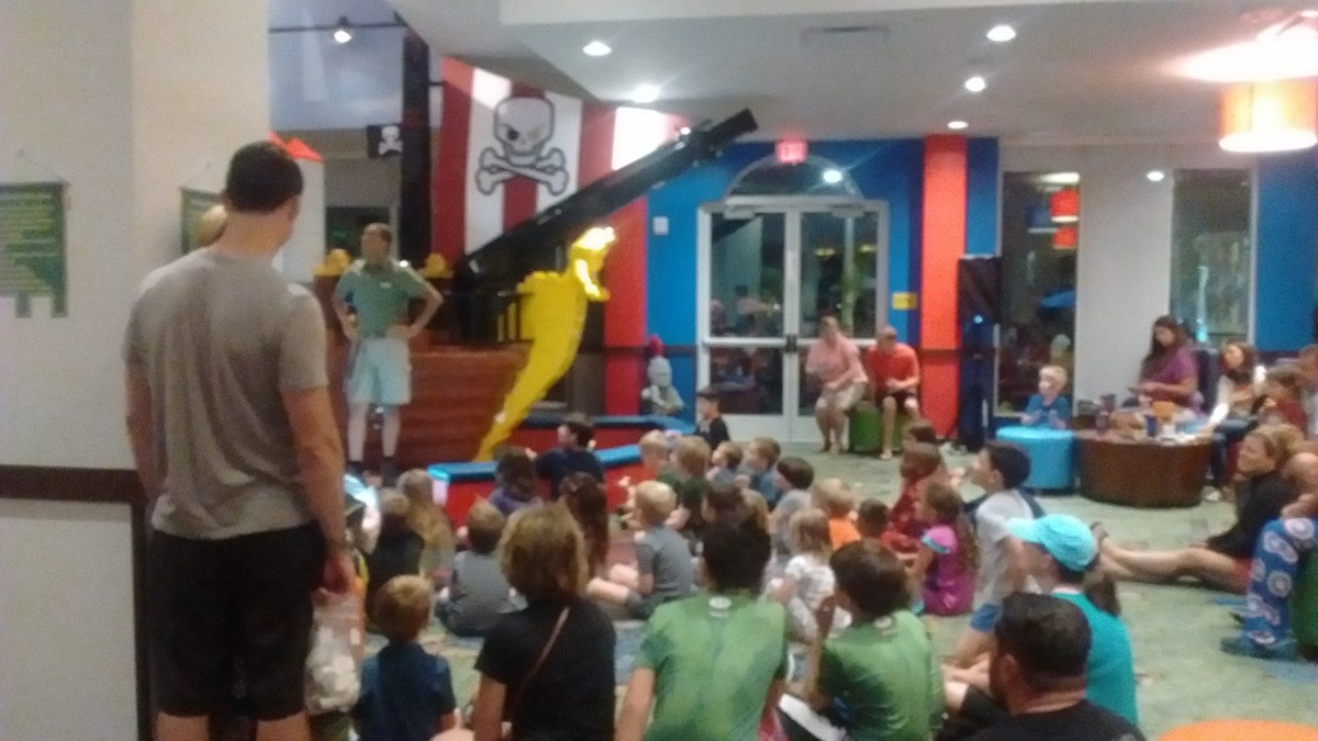Kids (and adults) gather in the play area for the pajama party.