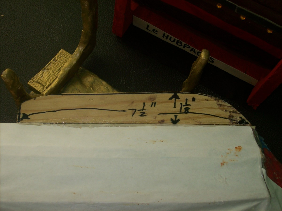 Dimensions of the keel and the papered hull.