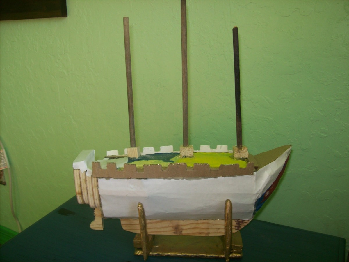 The model with all of the main features. The sails are yet to be built, but you can spray paint the model now, probably black or brown. Your sails will be painted white. Stand is made from bake clay, too. I use this stand for a model build.