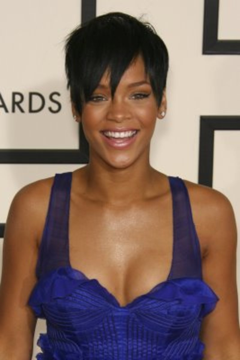 Rihanna's short haircut.