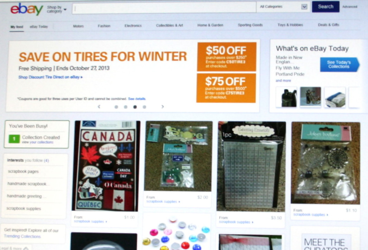 "New features on eBay home page including ""Meet the Curators"" and ""Collections""."