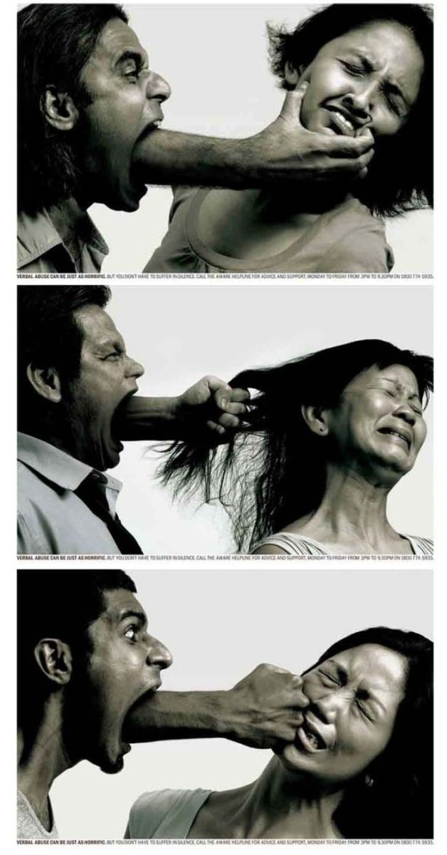 Domestic Violence Awareness ad in Singapore shows how verbal abuse can be just as hurtful as physical abuse.