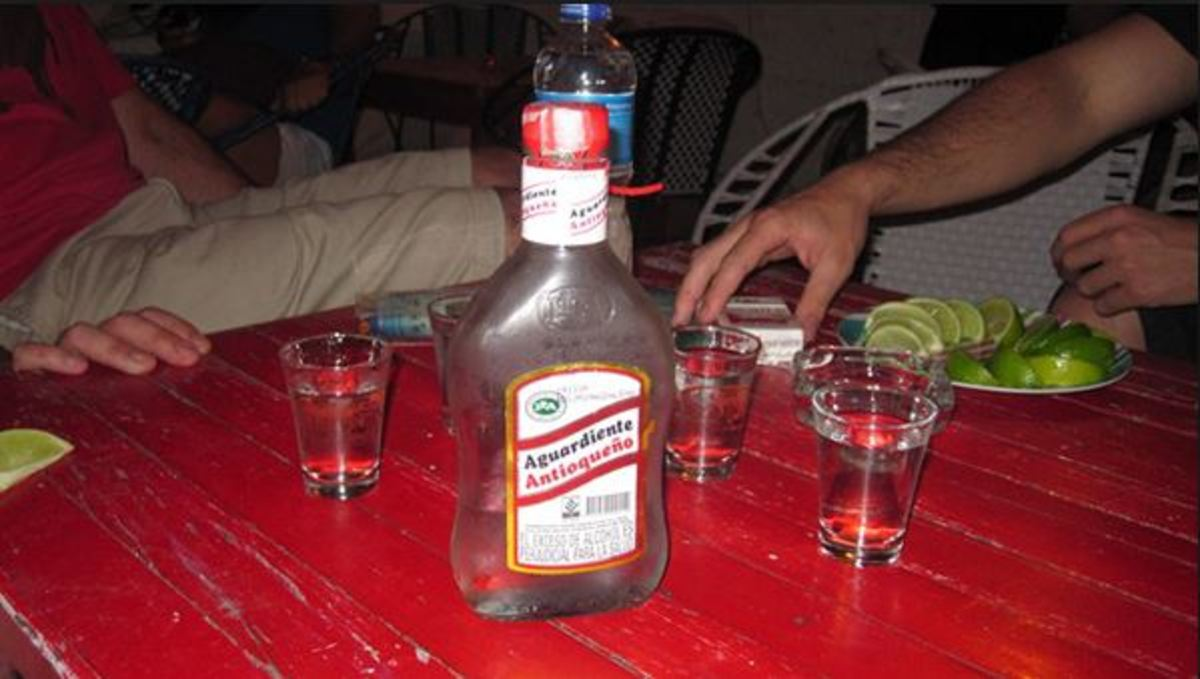 "This is called a ""media"" in Medellin, which is half botle of aguardiente. In Cali it is called ""caneca"""