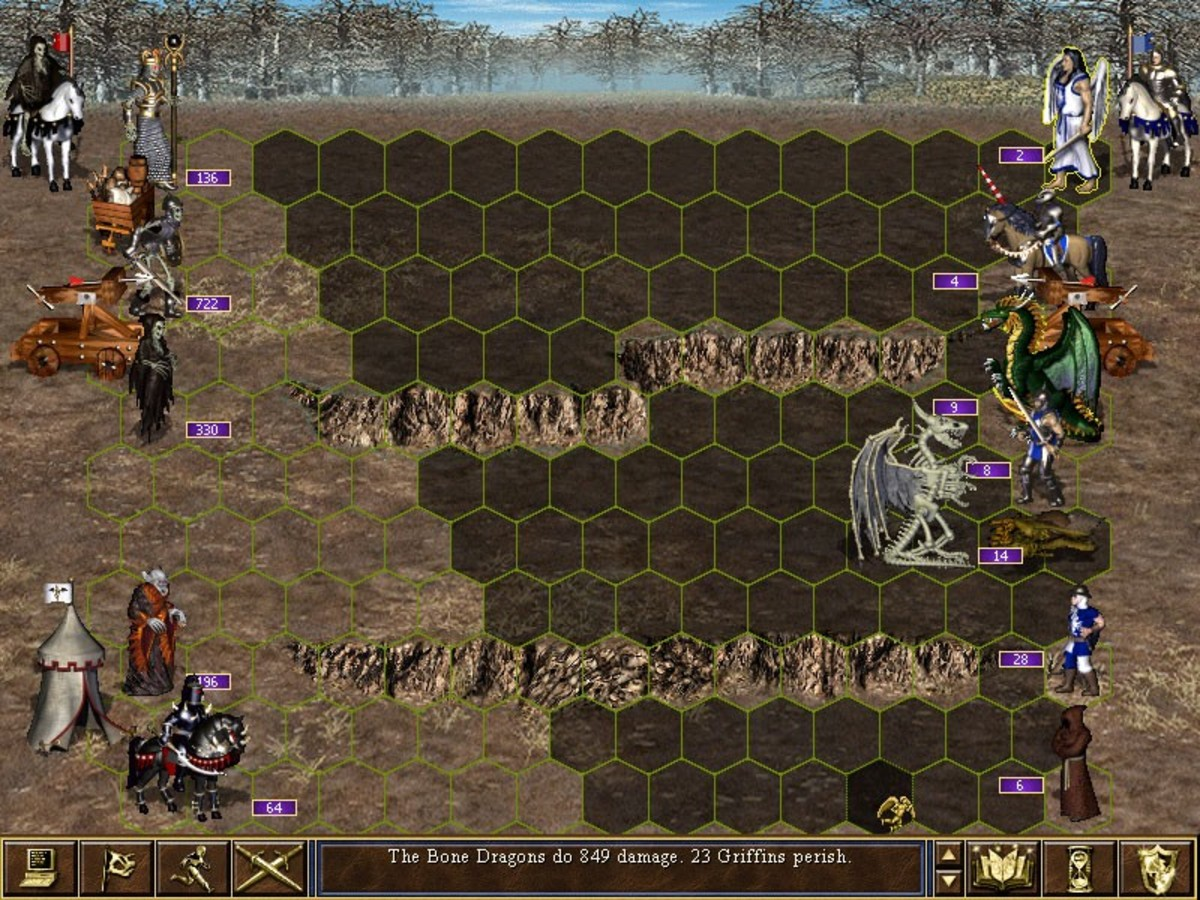 HOMM 3 Battle Scene with the combined forces of Erathia and Av-Lee versus the forces of the undead.