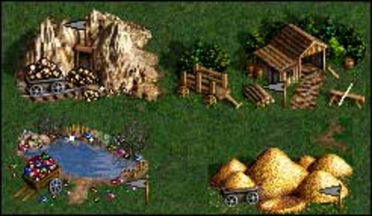 Four of the seven resources available in the game.