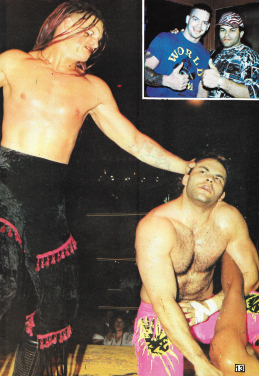Konnan and a kid who looks like Ian Hodgkinson
