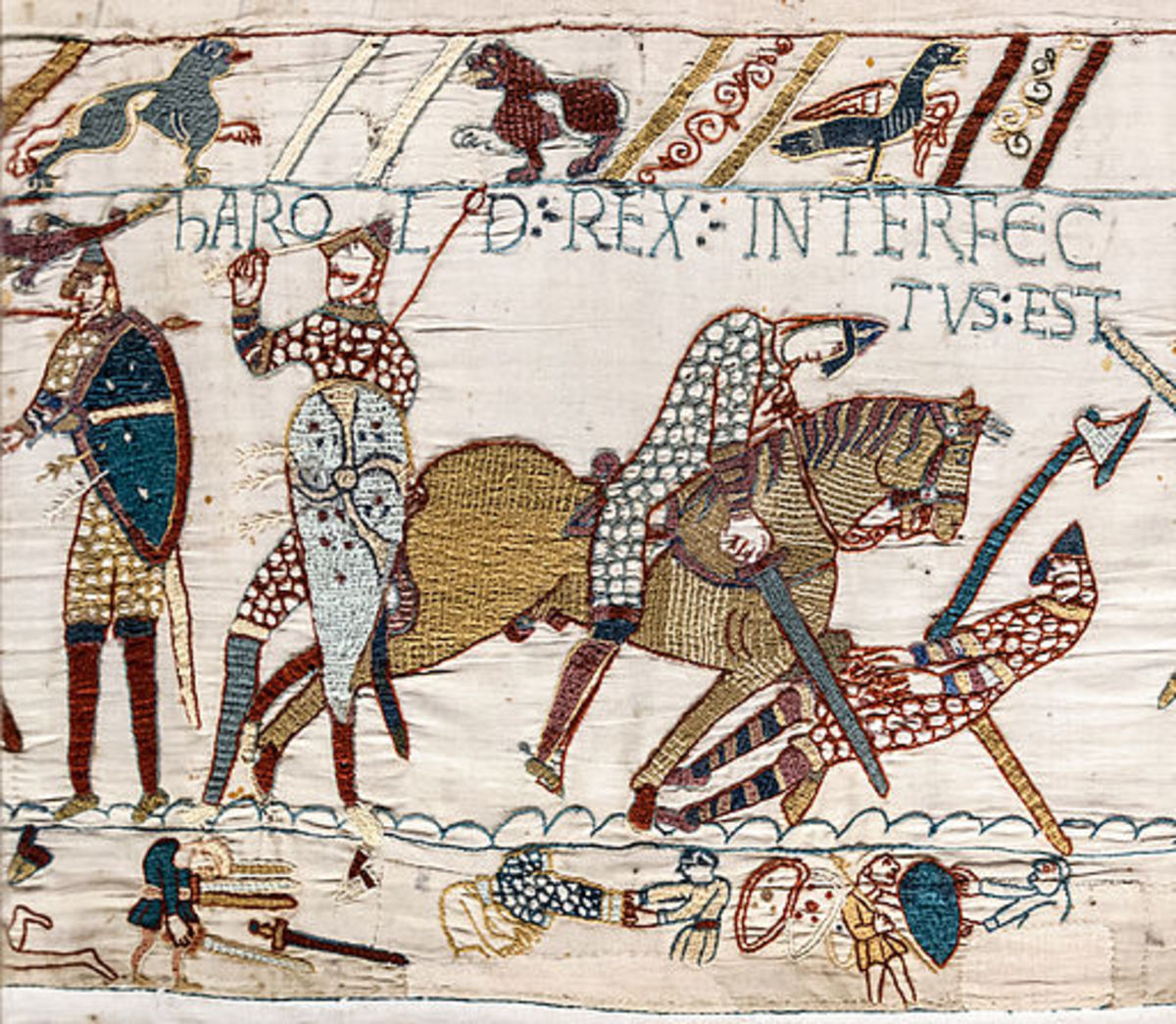 The Bayeux Tapestry. Date: 1070's. The Death of King Harold at the Battle of Hastings.