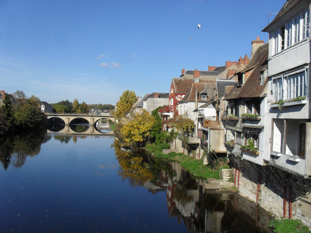 River Creuse with the New Bridge in Argenton Sur Creuse