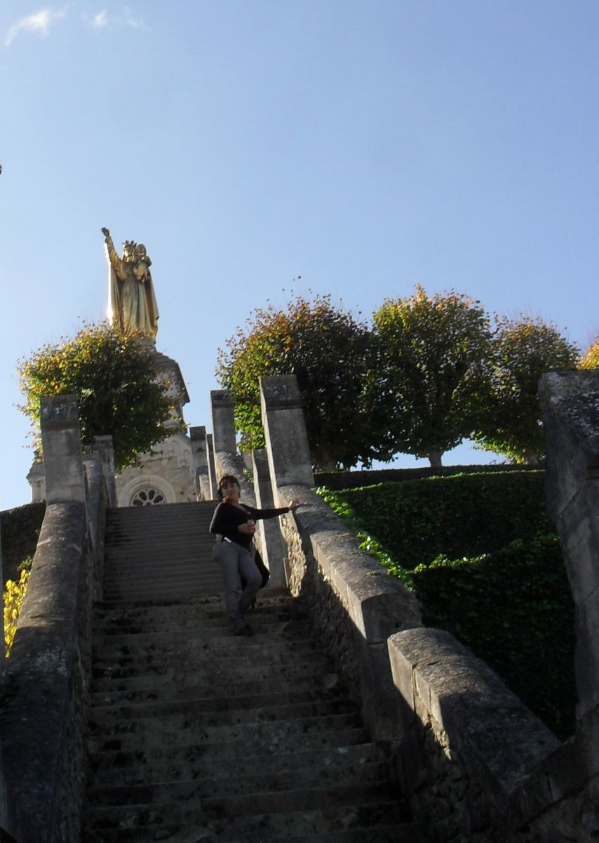 Climbing up to the Bonne Dame chapel.  You need to be in good shape to clinb up the steps to the Chapel
