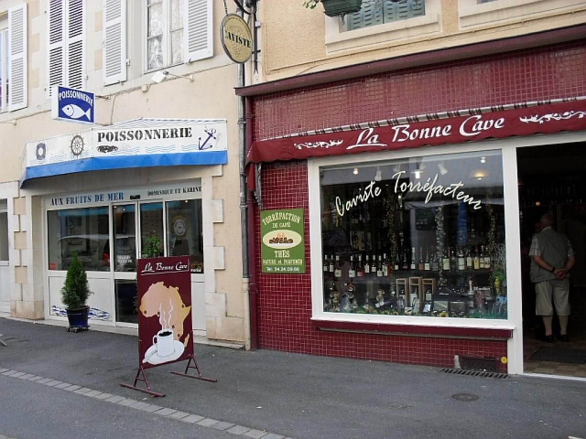 Fish shop next to Wine shop