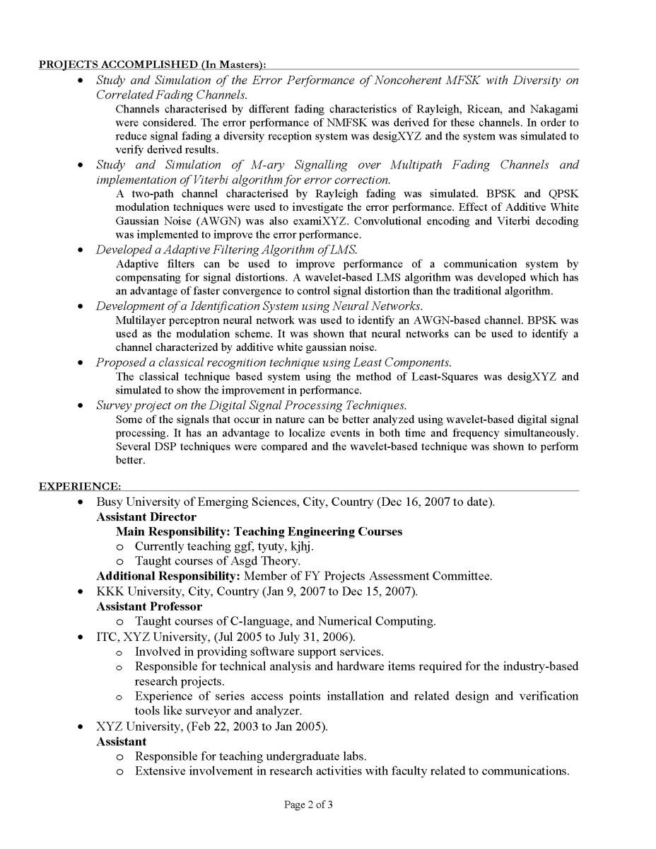 CV / Resume Sample 2 Page 2