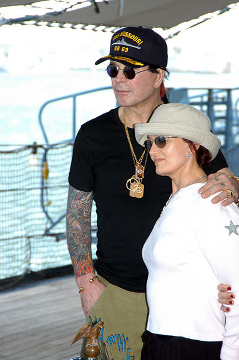 Sharon Osborne with husband Ozzy.  Sharon has kept her weight off after LapBand surgery, with no apparent serious side effects.