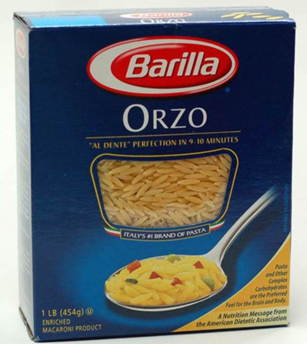 Orzo is a rice-shaped pasta that is easy to cook and easy to eat. Follow package directions.