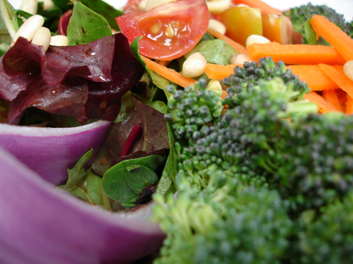 Broccoli, carrots, onion, and greens grace the cold-weather garden salad. If you like, add a small red onion to the shopping list. It adds lovely color and zest.