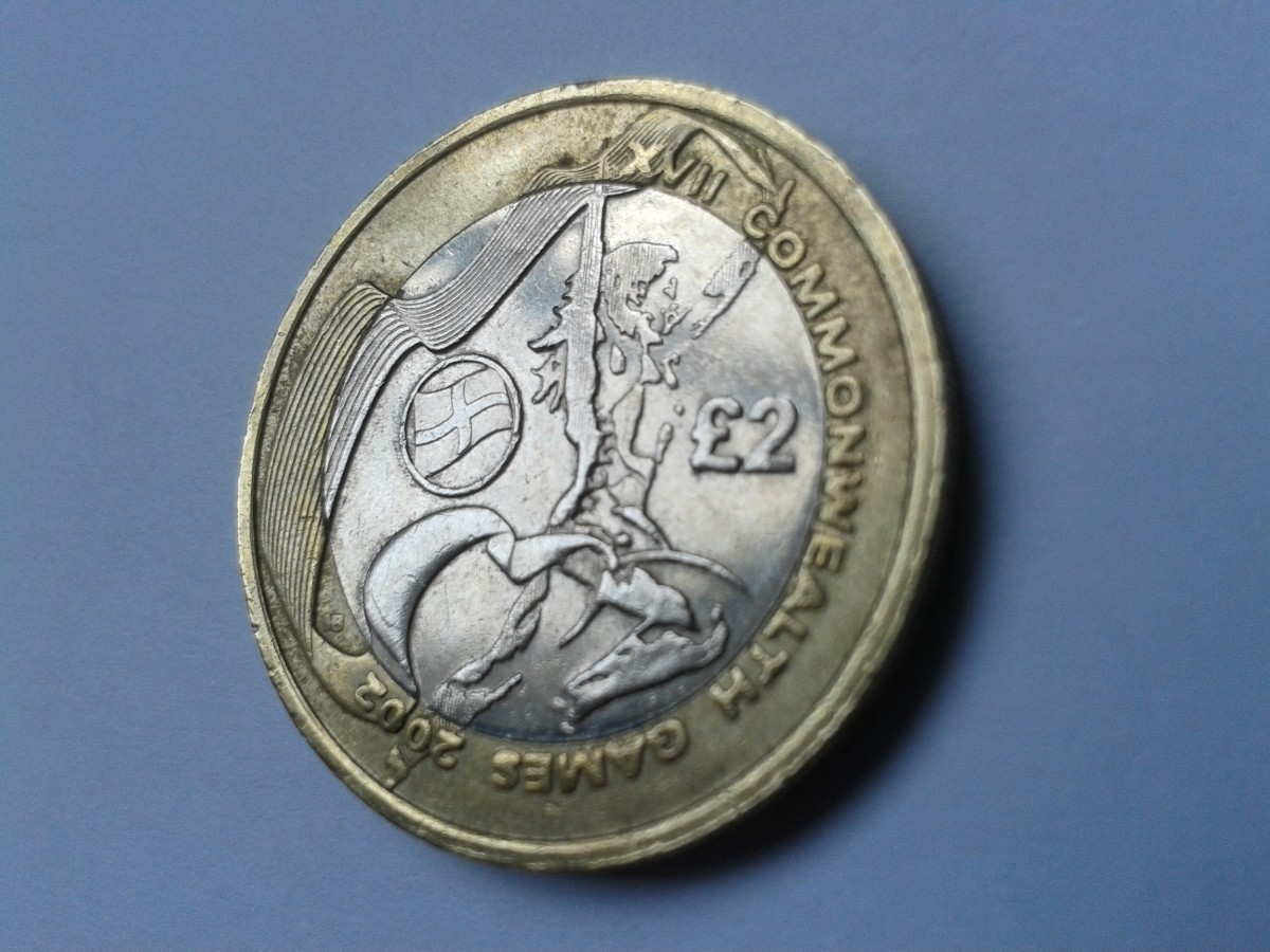 2002 Commonwealth Games £2 coin with English flag