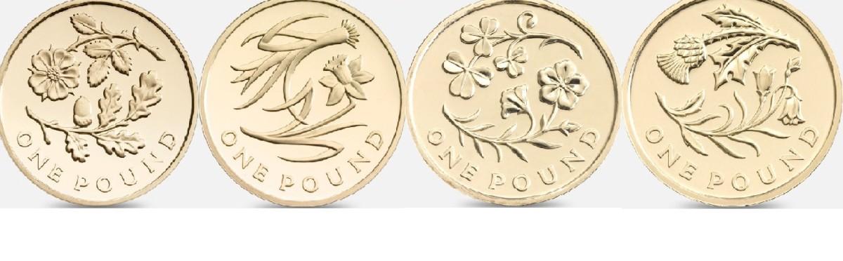 2013/2014 £1 Floral Emblem Designs L-R England, Wales, Northern Ireland, and Scotland