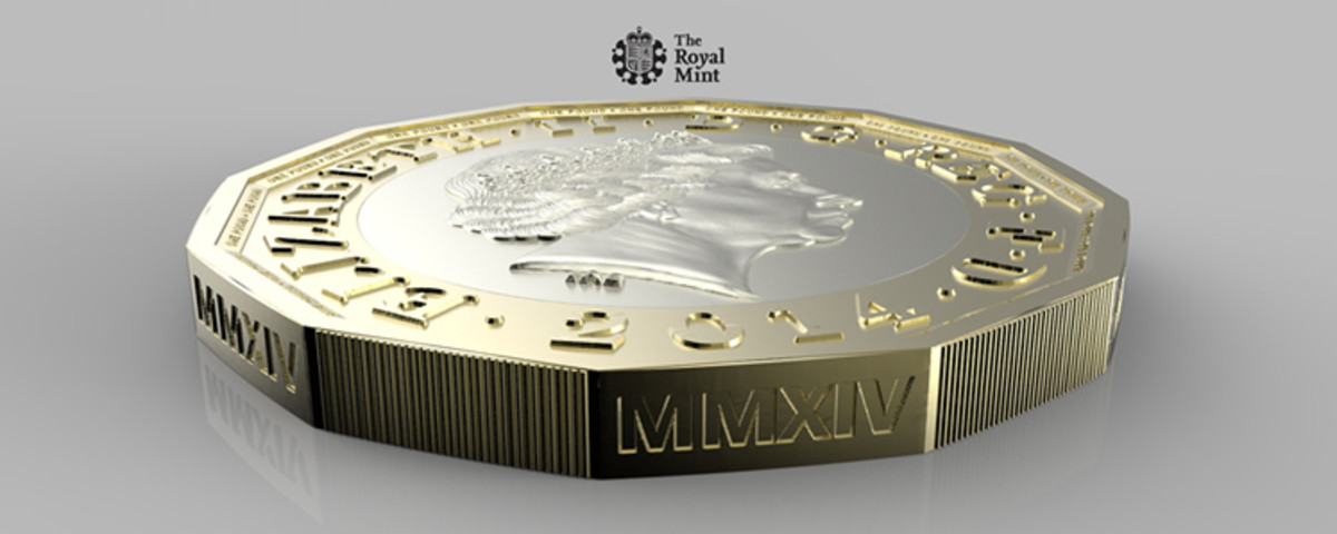 View of new £1 coin released 28th March 2017