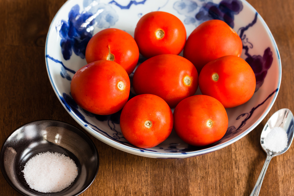 Tomatoes and salt for sauce.